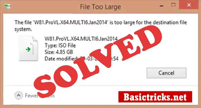 The file is too large issue is solved